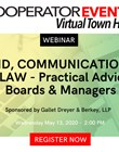 The Cooperator Events presents: COVID, Communications, & the Law - Practical Advice for Boards & Managers